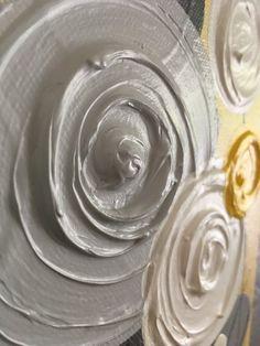 Amarillo gris y blanco con textura flor arte por MurrayDesignShop