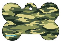 Green Camo Dog Pet Cat ID Tag