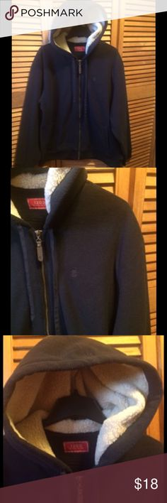 Izod Black Fleece Hoodie Black fleece jacket with heavy fleece lining in the hood, deep pockets, ribbed material around the sleeves and bottom with Izod logo on the left cheat and zipper tab. XL. 100% polyester. Izod Jackets & Coats Performance Jackets