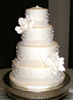 Magnolias and Pearls Wedding Cake, Mad Hatter Cakes - Wedding Cakes, http://www.madhatcakes.com/Wedding-Cakes.html