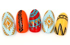 Tribal nail design.
