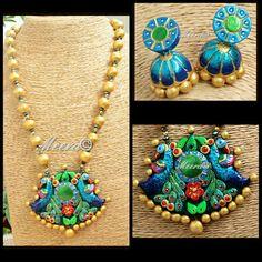 Terracotta peacock set