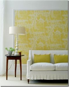 Framed wallpaper - trim moulding cut to the proper size at Home Depot and painted white to frame a piece of wallpaper OK not wall paper . Style At Home, Framed Wallpaper, Wallpaper Ideas, Wallpaper Panels, Wallpaper Headboard, Fabric Wallpaper, Orange Wallpaper, Temporary Wallpaper, Accent Wallpaper
