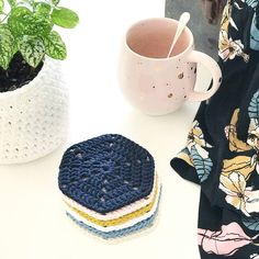 Scandi Cotton Coasters - Set of 6 - With Midnight | Felt