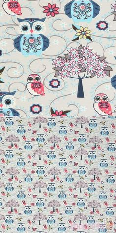 "light taupe jersey knit fabric with owls, trees, flowers, Material: 96% cotton, 4% elastane, Fabric Type: smooth knit fabric, Pattern Repeat: ca. 26.3cm (10.4"") #Animals #AnimalPrint #Knit #ExtraWide #Owls #FabricsFromFrance"