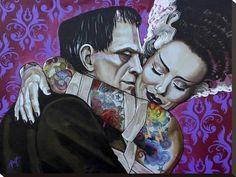 Undying Love by Mike Bell Tattoo Art Canvas Giclee Bride of Frankenstein Art Beat, Rockabilly, Arte Horror, Horror Art, Horror Decor, Mike Bell, Arte Lowbrow, Casa Halloween, Halloween Pics