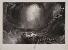 John Martin - The Evening of the Deluge - Old Testament Flood Myth, Noah's Ark, Horror, Black and White, Biblical History wall decor Before The Flood, John Martin, Victoria And Albert Museum, Bible Art, Great Artists, Les Oeuvres, Artwork, Prints, Poster