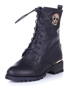 Black Lace Up High Top Boots with Skull Detail