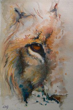 lion - watercolour   da Lesley D McKenzie