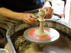 Ingleton Pottery How to make / throw a simple clay pottery candlestick on the wheel