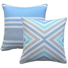 Create a coastal Hampton's look at home with new CROSS outdoor cushion. Coordinate with 5 other cushions in our Hamptons range. Perfect for your outdoor lounge or daybed. Outdoor Cushion Covers, Outdoor Cushions, Outdoor Lounge, Outdoor Rooms, Striped Cushions, Cross Designs, Shades Of Blue, The Hamptons, Coastal