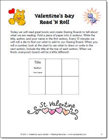 Valentine Read and Roll Freebie from Laura Candler's Teaching Resources