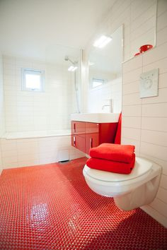 red & white bathroom