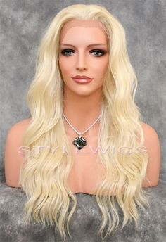 Long Hand Tied Lace Front Wig Heat OK Wavy Light Pale Blonde SAYV 613 #Unbranded #FullWig