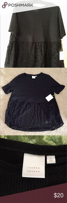 Black Babydoll Top Super cute top with lace bottom. Dress this one up with a pair of pink skinny jeans. NWT. Never worn. LC Lauren Conrad Tops Blouses