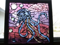 Mosaic Stained Glass Jellyfish Framed Glass on by wjoydesigns, $99.00