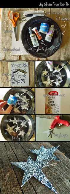 DIY Tutorial: Projects with Glitter / DIY Glitter Star Hair Pin - Bead&Cord