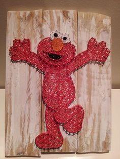 Elmo string art. Check us out on Facebook at All Strung Up. https://www.facebook.com/pages/All-Strung-Up/915873695199667?ref=hl