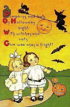 Pumpkins and bats on Hallowe'en night, with witches and cats give wee ones a fright!