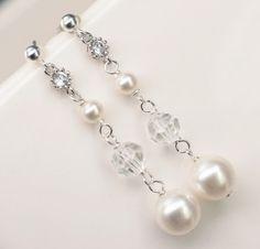Linked Swarovski Pearl and Crystal Earrings, $31- roxysjewelry.com