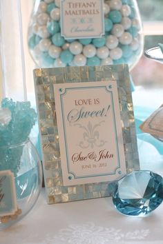 Elegant Tiffany Blue Candy or Dessert Buffet by CreativeStationery, $24.99