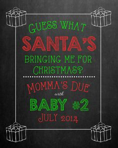 Christmas Pregnancy Announcement Chalkboard for by MMasonDesigns, $15.00