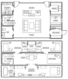 One of the best container floor plans I've seen. 7 Sobrados com Containers entre 100 m² e 200 m²