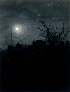 Moonlight Scene by Léon Bonvin (Note: Leon Bonvin, 1834-1866, was a largely self-taught French watercolorist whose work was distinctive in looking almost like a photograph.