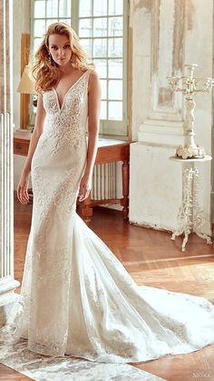 nicole spose bridal 2017 sleeveless deep v neck lace sheath wedding dress (niab17102) mv train