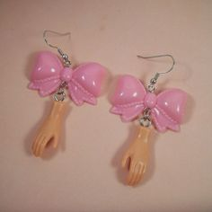 Barbie Bow Earrings by thelovelyteaspoon on Etsy, $7.00