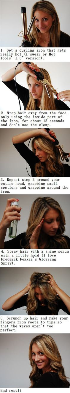 This is how I curl my hair and I love the way it turns out! I suggest trying out this tutorial, it works out great!