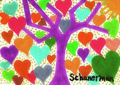 """Tree of Love"" - - Original 5"" x 7"" heARTwork by Susan Schanerman"