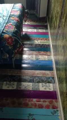 Decoupage Floor Using Wallpaper With Backing Removed