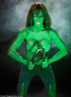 You wouldn't want to mess with her! Jodie Marsh dresses up as the Incredible Hulk and admits that Kirk Norcross 'hurt' her