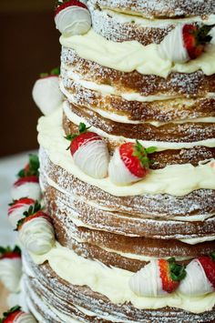 Rustic White Chocolate Wedding Cake - just love naked cakes without all that sugary too sweet fondant (that i actually never eat)