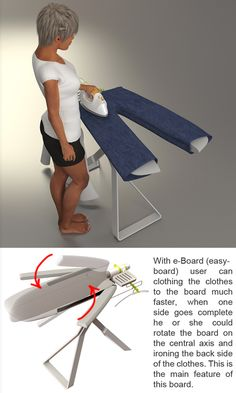 How brilliant of a design is this? I would love one immediately! The E-Board (Easy Board) Ironing Board by Mohsen Jafari Malek, consists of five components that adapt to the article of clothing you are ironing. Shirts, jeans, pants, dresses will all be super to iron with this design idea. #iron #ironingboard #YankoDesign