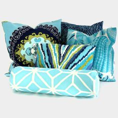 Trina Turk Aqua Trellis Outdoor Bolster Pillow Cover by PopOColor, $70.00