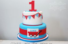 First Birthday cake with little red wagon by K Noelle Cakes