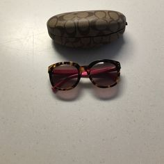 Coach sunglasses Brown turtle frames with pink legs. Coach Accessories Sunglasses