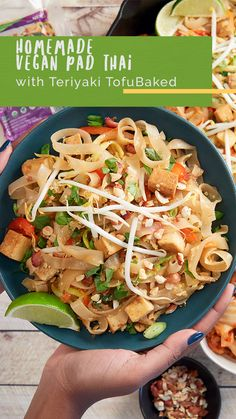 Mix it up in the kitchen tonight and whip up this plant-based Tofu Pad Thai with Nasoya Teriyaki TofuBaked! Tofu Recipes, Asian Recipes, Vegetarian Recipes, Ethnic Recipes, Tofu Pad Thai, Vegan Pad Thai, Healthy Meals, Healthy Eating, Healthy Recipes