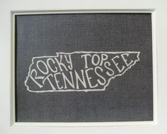 Rocky Top Tennessee - White on Black - 8x10 Illustrated Print. $18.00, via Etsy.