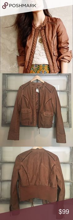 Hei Hei Vegan Leather small bomber jacket Price is firm! Anthropologie brown faux vegan leather bomber jacket. Worn 2x, basically brand new! Anthropologie Jackets & Coats Utility Jackets