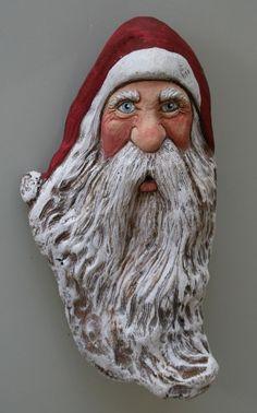 WOOD Carved Flowing Beard Folk Art SANTA Wood Spirit Lisa Rogers ORIGINAL