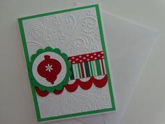Handmade Christmas Card, Hand-Stamped Snowflake Merry Christmas Card via Etsy