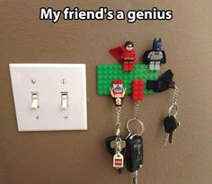 Lego key holders diy...would totally work here!! We all have Legos on our keys!!!