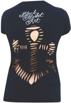 Lighthouse Hand Cut Tee by Artist Thea Fear  Lowbrow Art Punk Rock Tattoo Alternative womens girls hoodies sweatshirts teeshirts