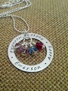 Personalized Grandma Necklace  Hand Stamped by StampedEvermore, $49.00.  Cute.  My wonderful mother-in-law might need about 6 of these necklaces:)  This would be a cute mom necklace, too.