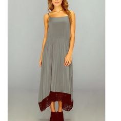 Free People Breezy Dress Super easy soft 100% rayon dress with cotton crochet trim. Relaxed a-line shirt with drip waist. Adjustable shoulder straps and deep armhole. Good used condition. Size medium. Free People Dresses Midi