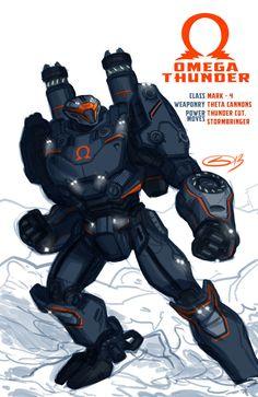 Omega Thunder : Original Jaeger by Samir Barrett. Pacific Rim Kaiju, Pacific Rim Jaeger, Robot Concept Art, Armor Concept, King Kong, Godzilla, Transformers, Big Robots, Fun Facts About Animals