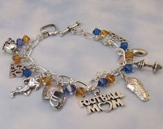 Football Mom Charm Bracelet with Team by theBeaderandtheROCK, $19.99